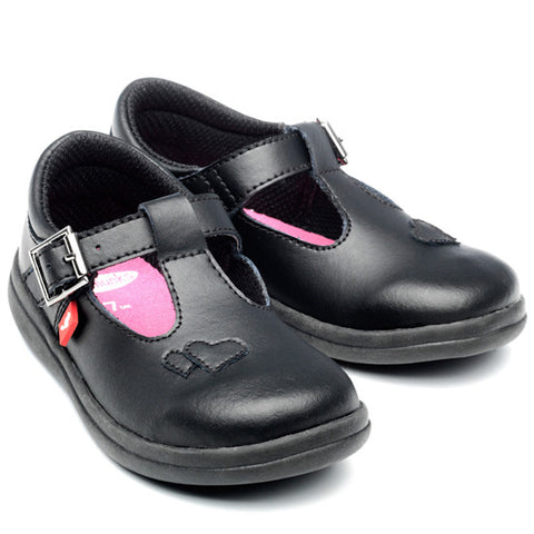 Esme Black Leather Girls School Shoes