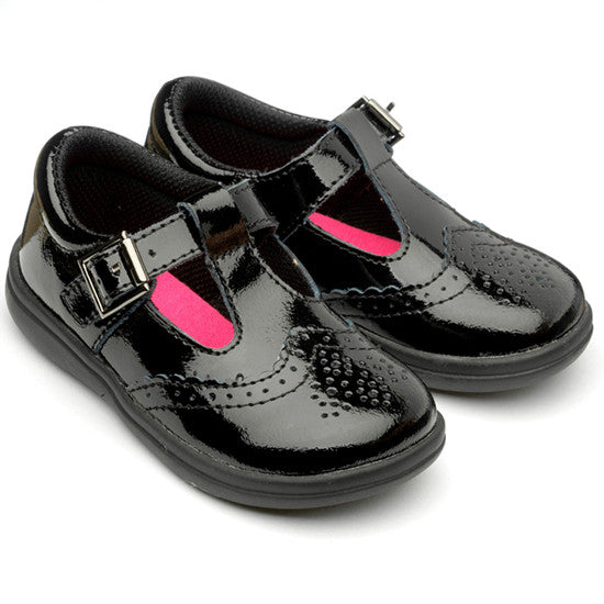 Eva Patent Leather Black Brogue School Shoe