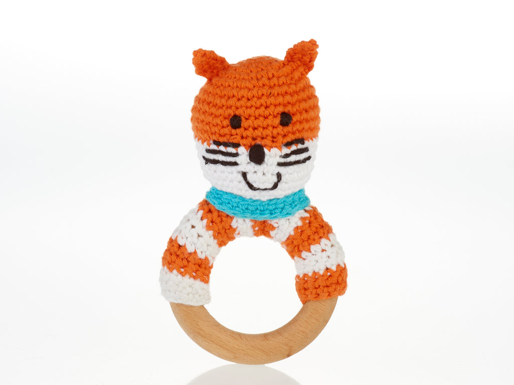 Wooden Ring Rattles - Fair Trade Crochet Cotton- Fox, Dog, Bunny