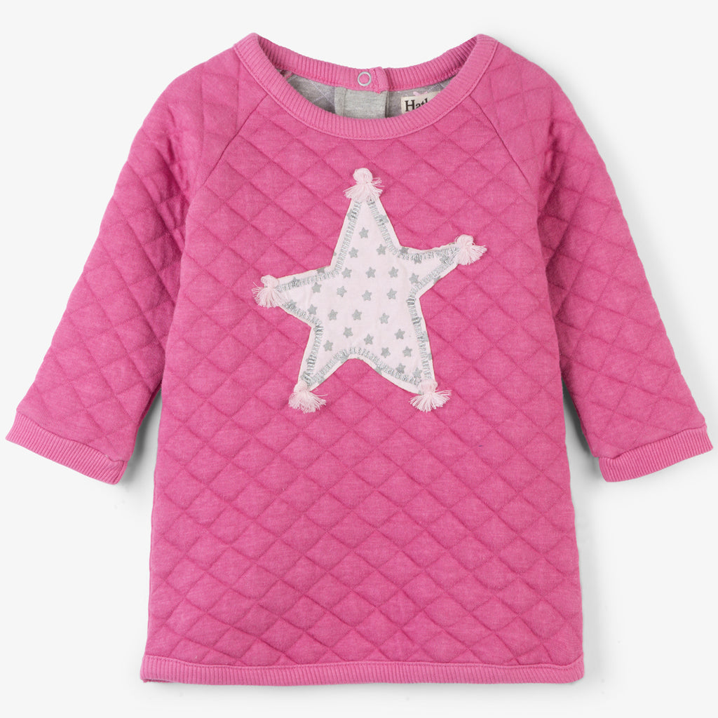 Hatley - Quilted Baby Dress With Pink Star. 3-6 & 9-12m