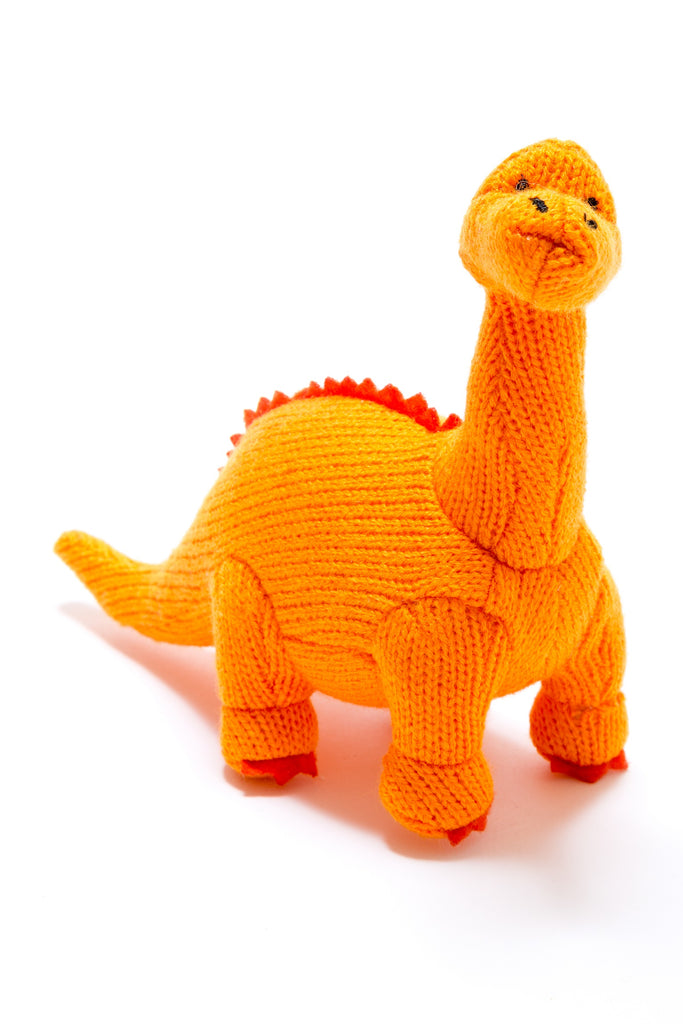Small Orange Diplodocus Knitted Dinosaur Baby Rattle