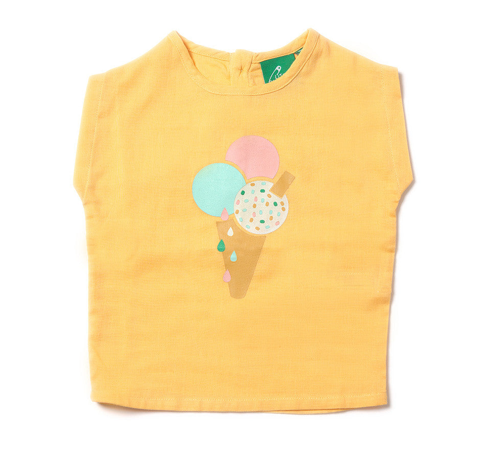 Little Green Radicals - Ice Cream Double Cloth Top, 3-6 & 6-9m