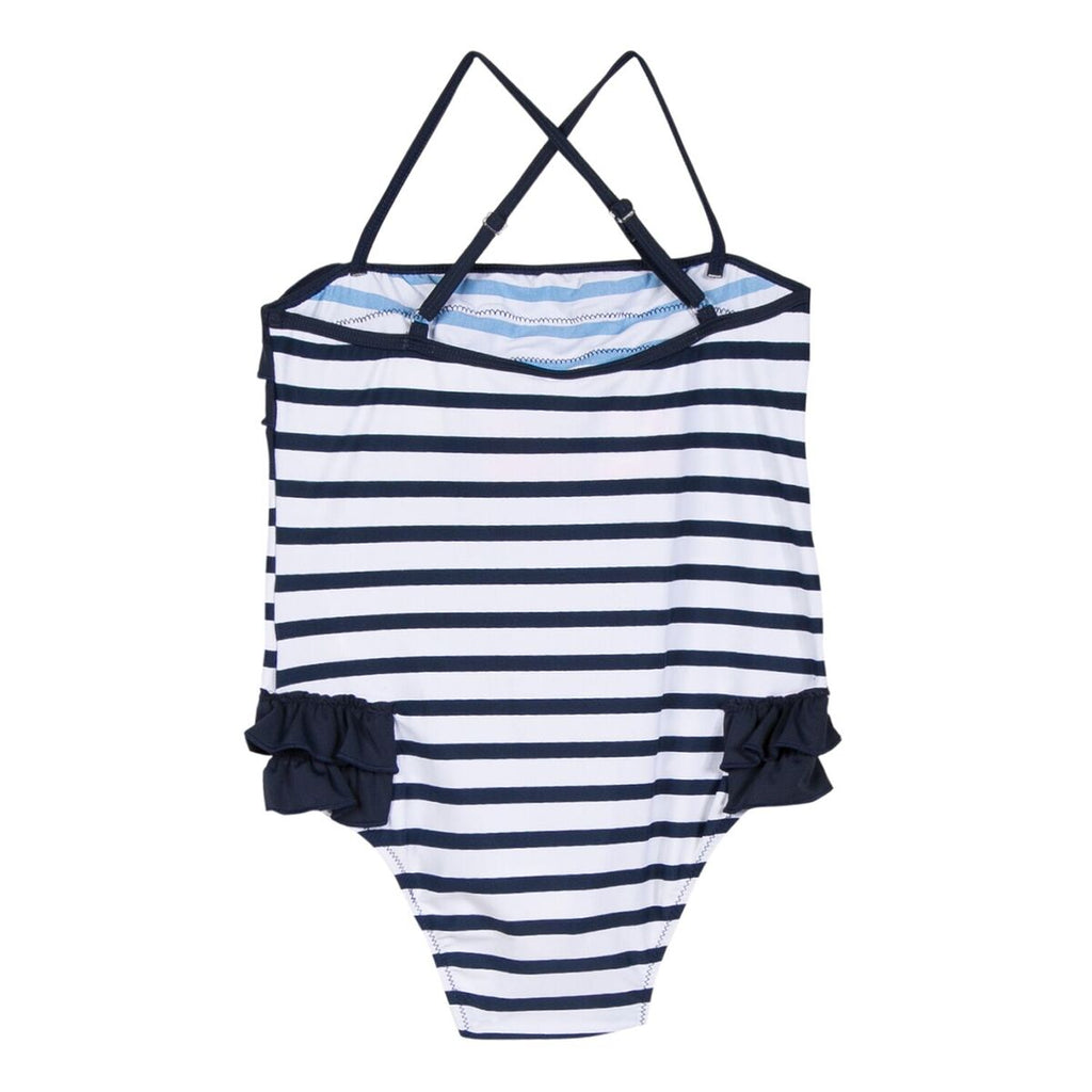 Girls Navy & White Stripe Swimsuit