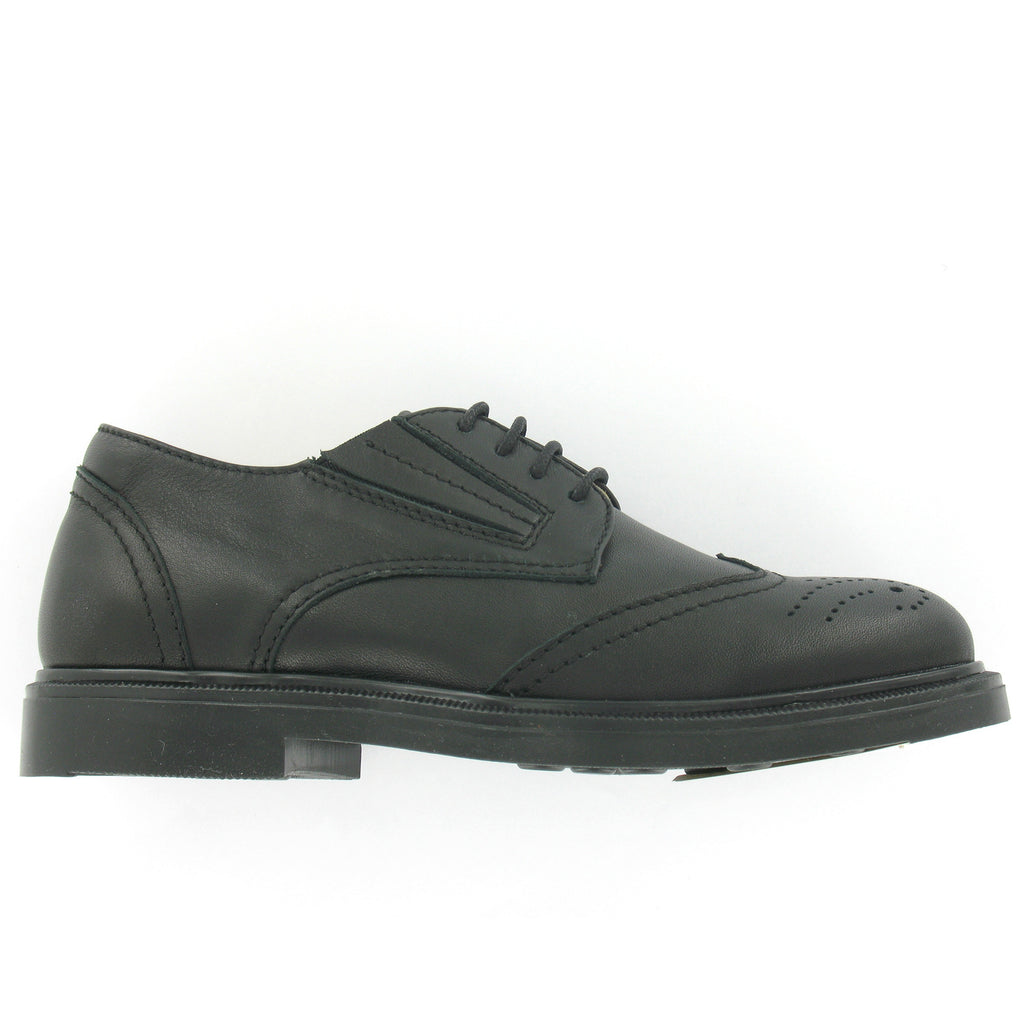 Jaluit Black Leather Brouge Unisex School Shoe