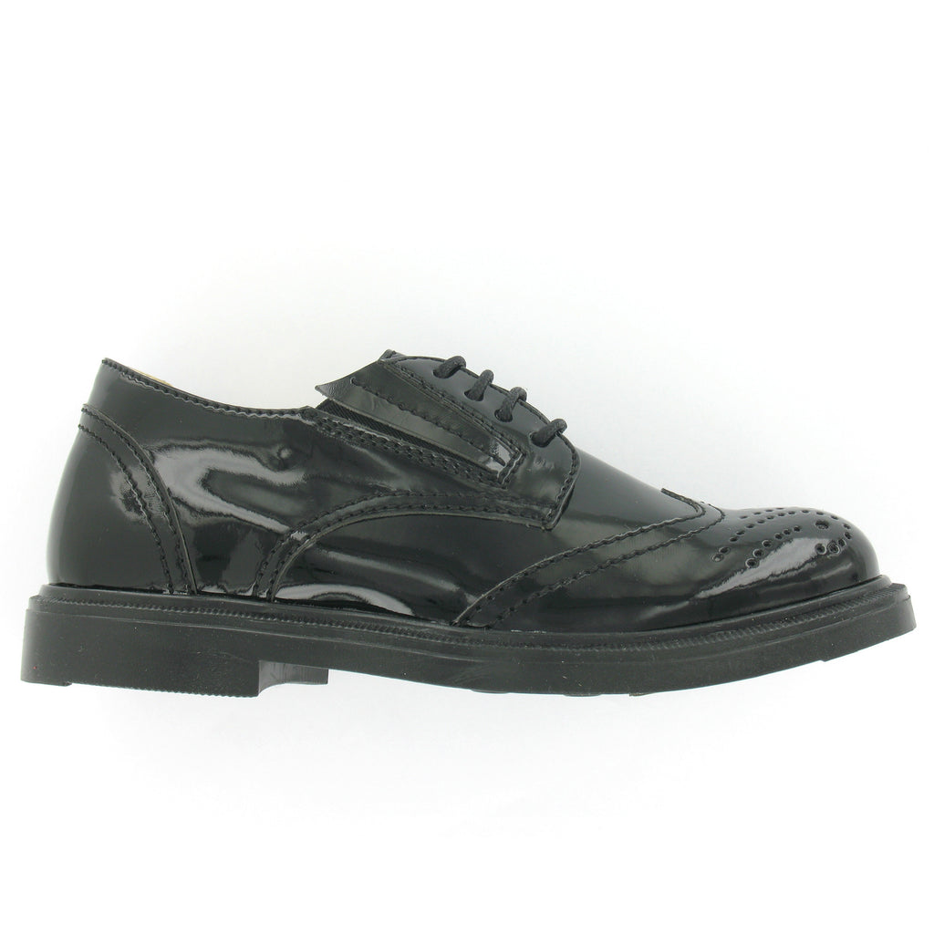 Jaluit Black Patent Leather Girls School Shoe