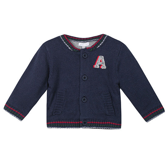 Absorba - Knitted Varsity Style Boys Cardigan 4y
