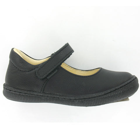 Morine Black Leather Girls School Shoe