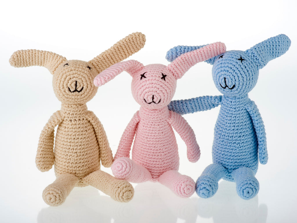 Bunny Baby Rattle - Fairtrade - Crocheted Soft Cotton - Pink, Blue, Cream