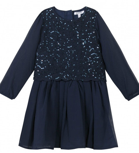 Navy Blue Long Sleeved Party Dress