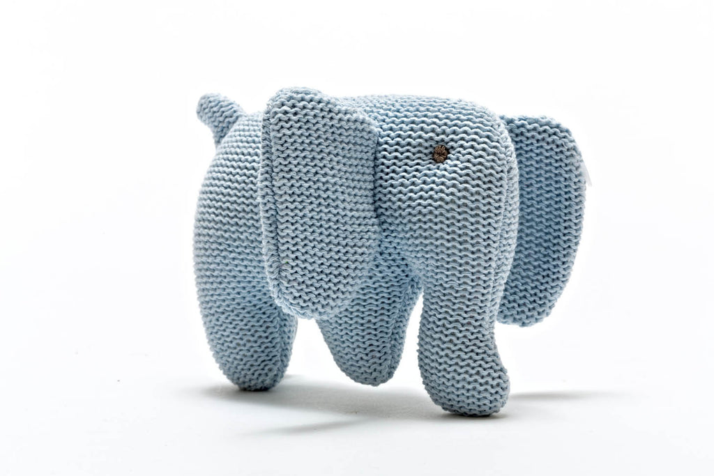 Knitted Elephant Rattle 100% Organic Cotton - Blue, Pink