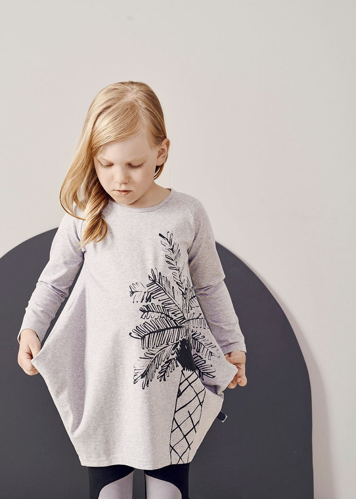 Papu - Melange Grey Long Sleeved 'Kanto' Dress With Print, 5-6y