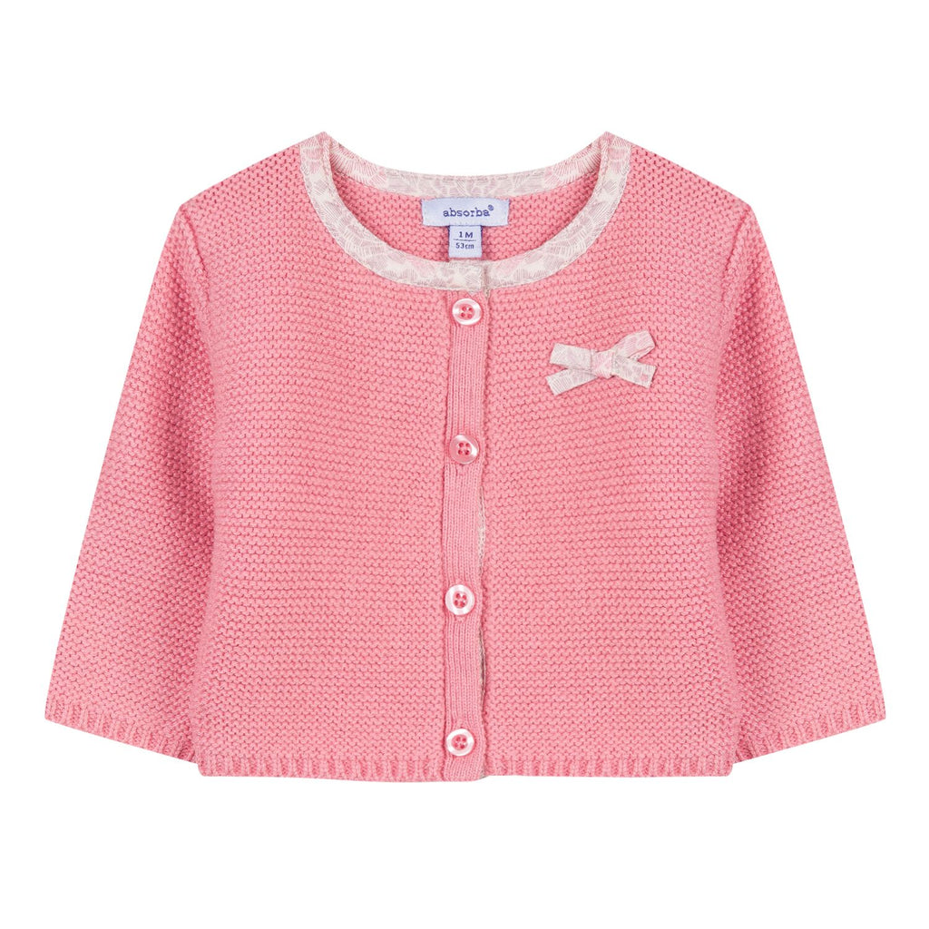 Sorbet Pink Knitted Cardigan With Bow Detail