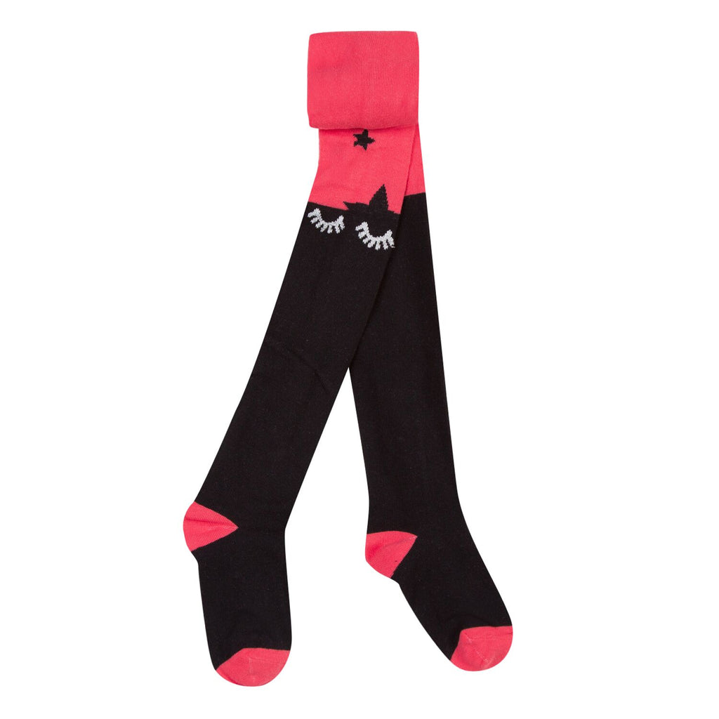 3 Pommes - Berry Red Tights With Black Star Design