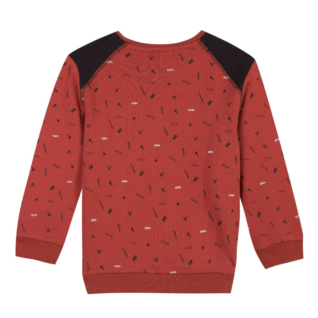 Brick Red Sweatshirt With All Over Print