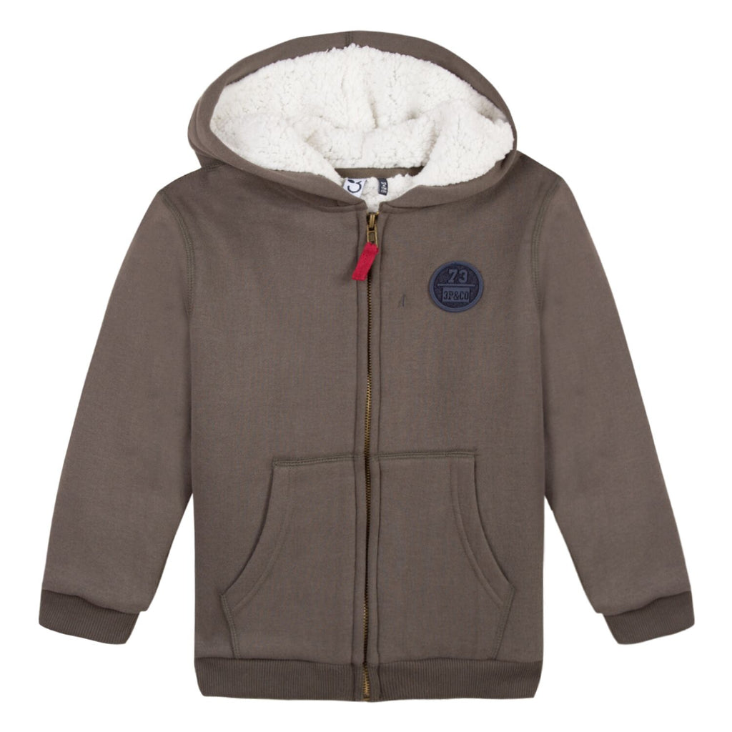 3 Pommes - Khaki Green Fleece Lined Zip Up Hoodie