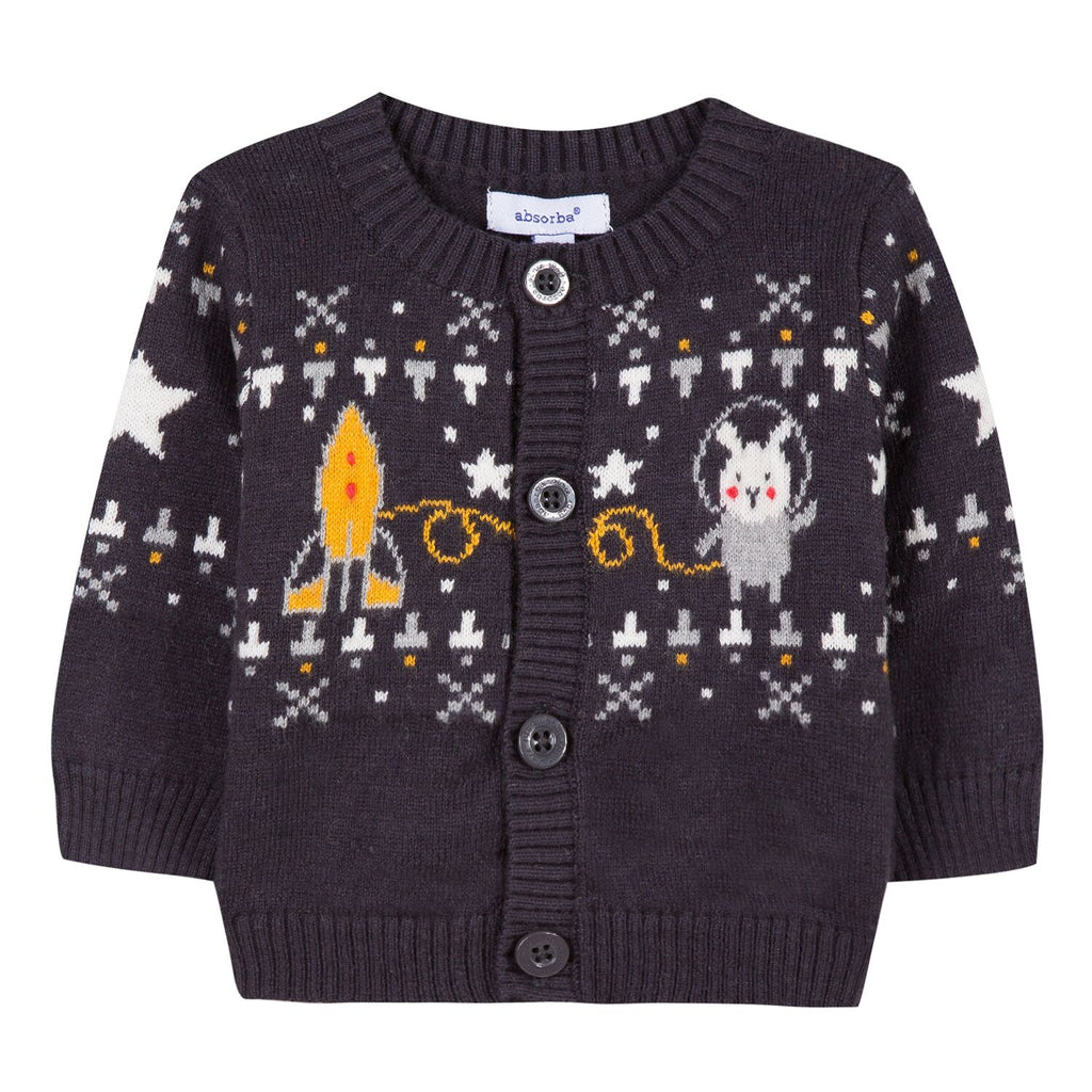 Absorba - Toddler's Knitted Cardigan With Space Bunny Design