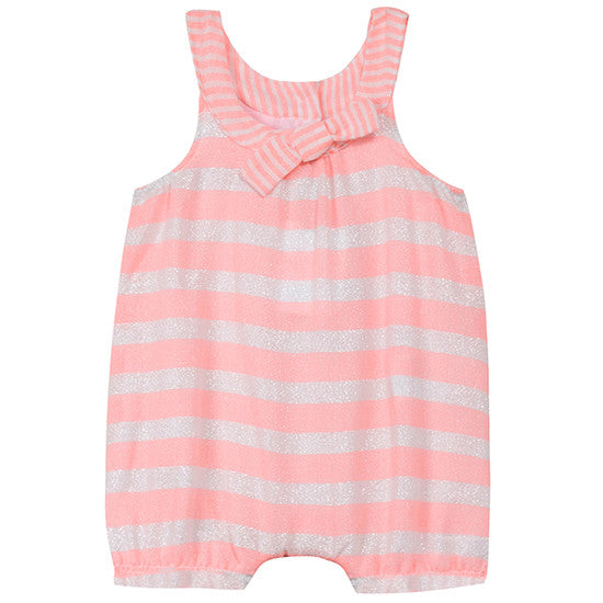 Pink Stripe Romper With Iridescent Detail