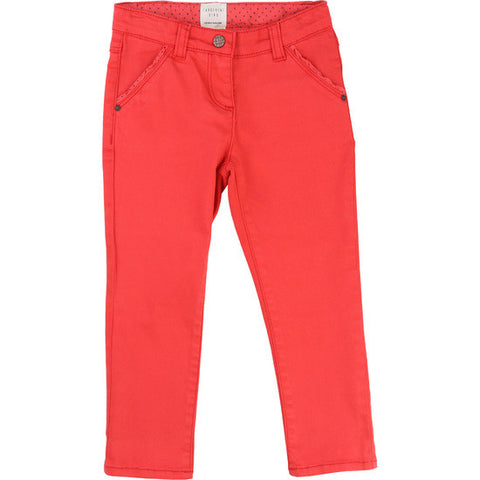 Poppy Red Girls Cotton Trousers