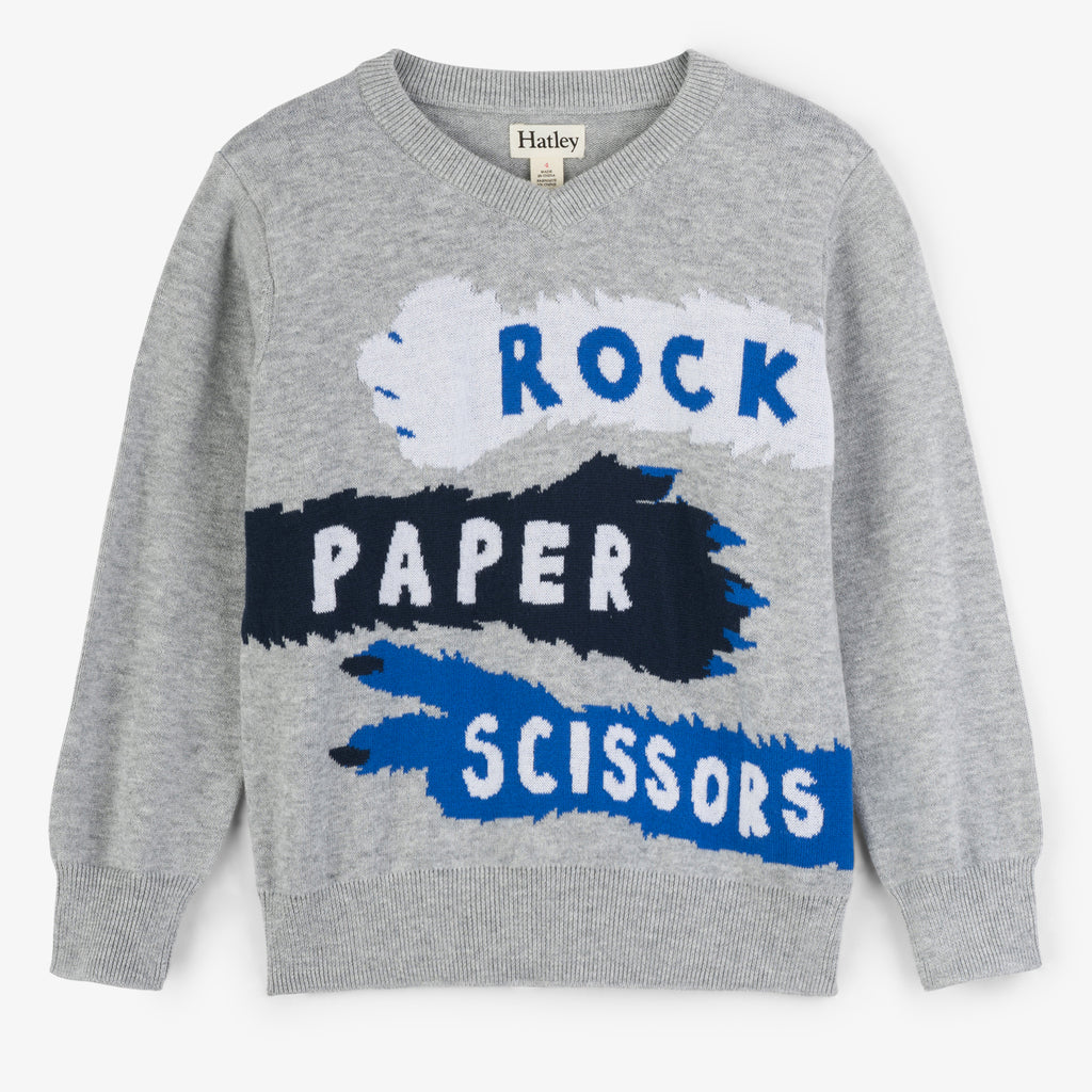 Hatley -  Rock Paper Scissors V-Neck Jumper, 8y