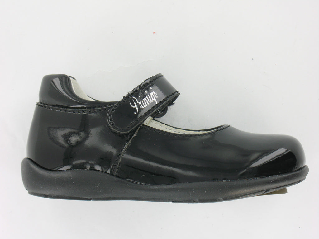 Girls Patent Black 'Sandes' Shoe