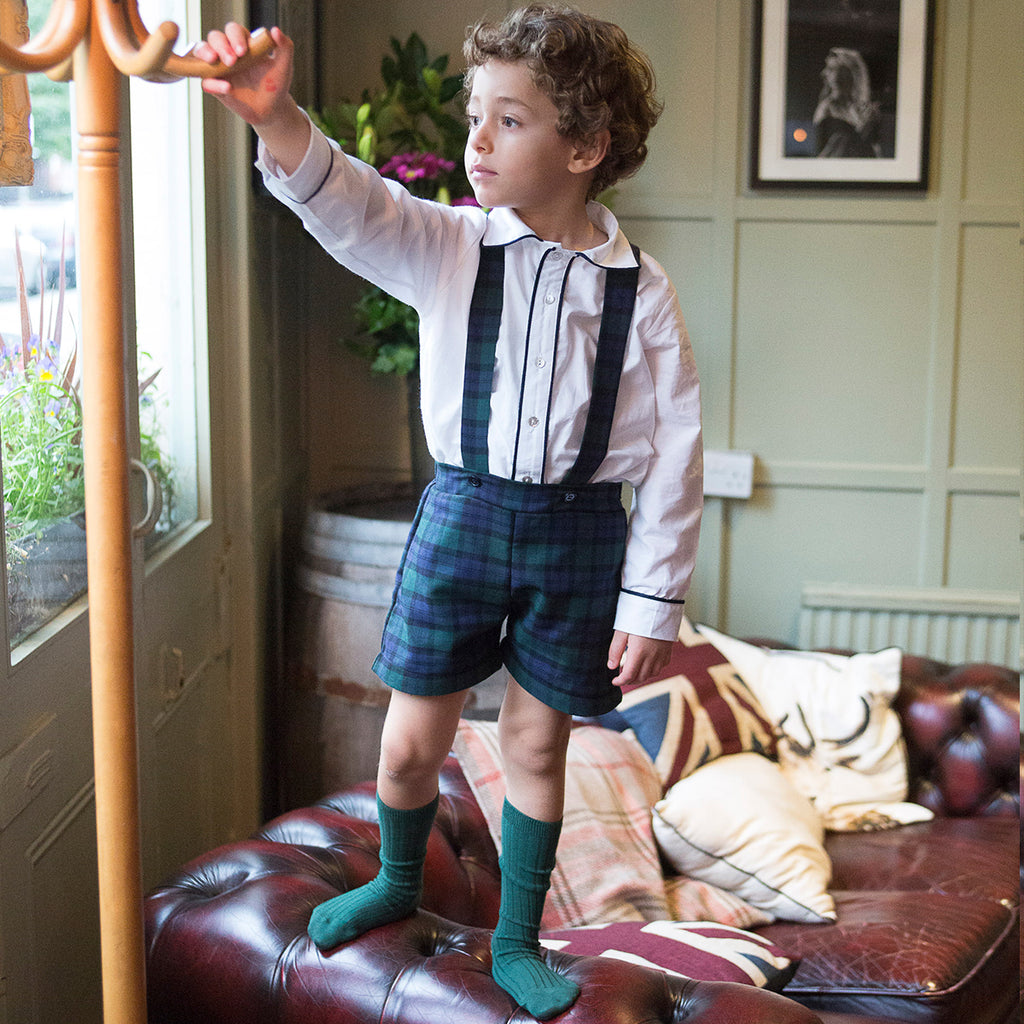 Scotland boys tartan dungarees from Beatrice & Bee