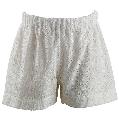 Girls White Broderie Shorts