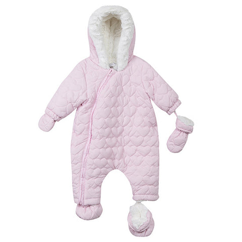 Pink Girls Snowsuit With Heart Quilting