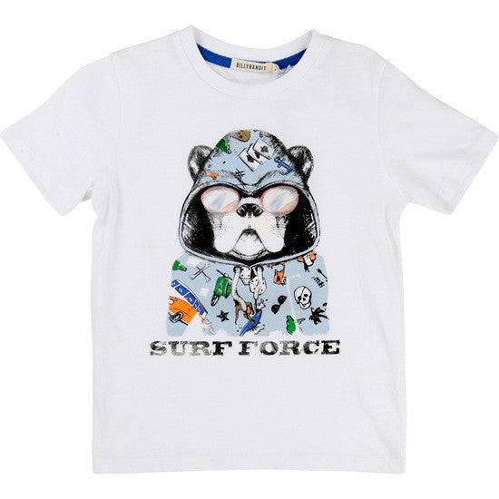 Billybandit - Surf Force Boys White Summer T-Shirt, 4y