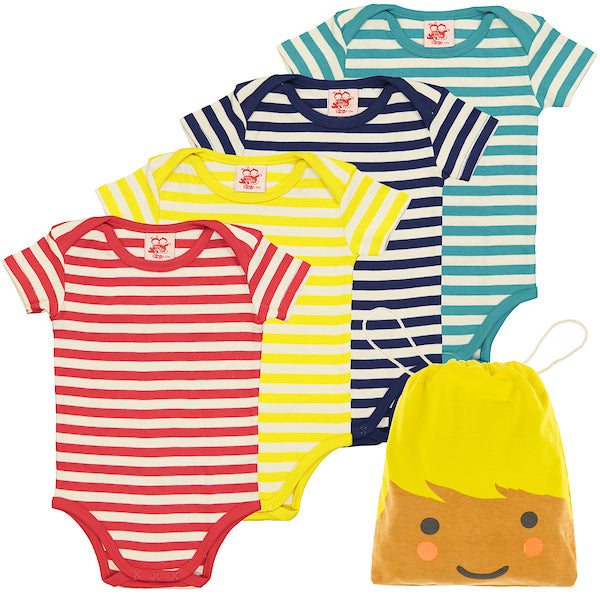 ESSENTIAL - Baby Unisex Striped Organic Cotton Bodies - Pack Of Four