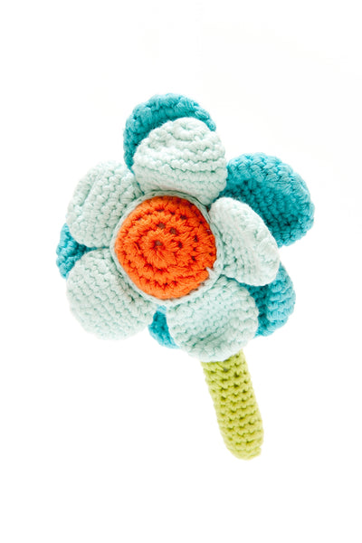 Flower Rattle - Blue