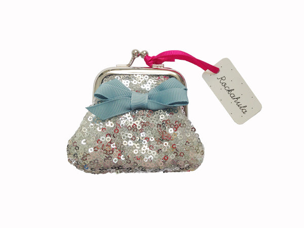 Mini Sequin Clasp Purse - Silver
