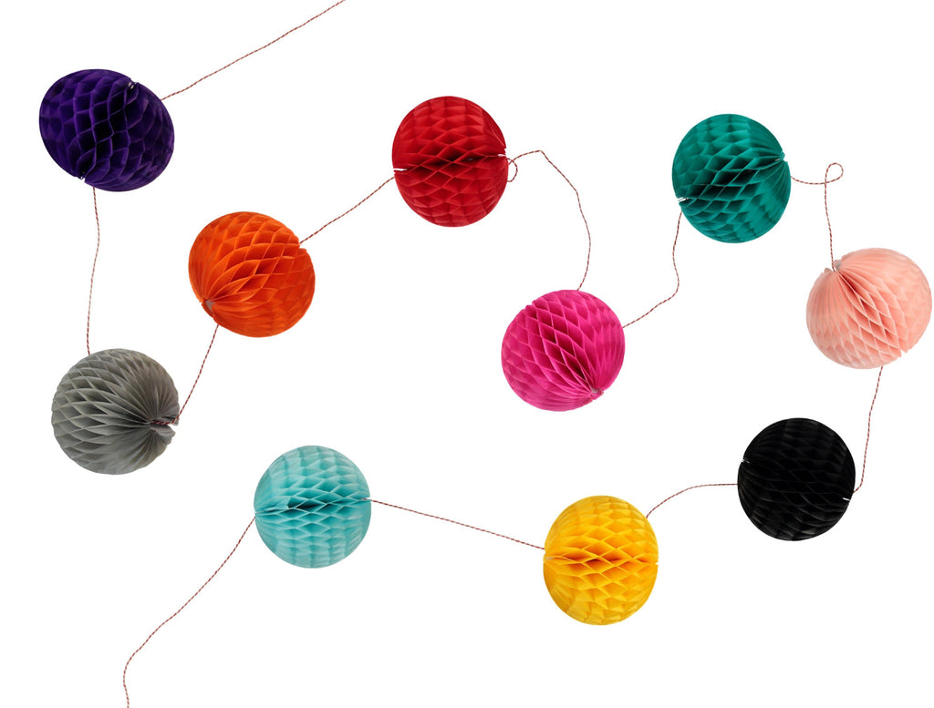 Multi Coloured Honeycomb Ball Garland