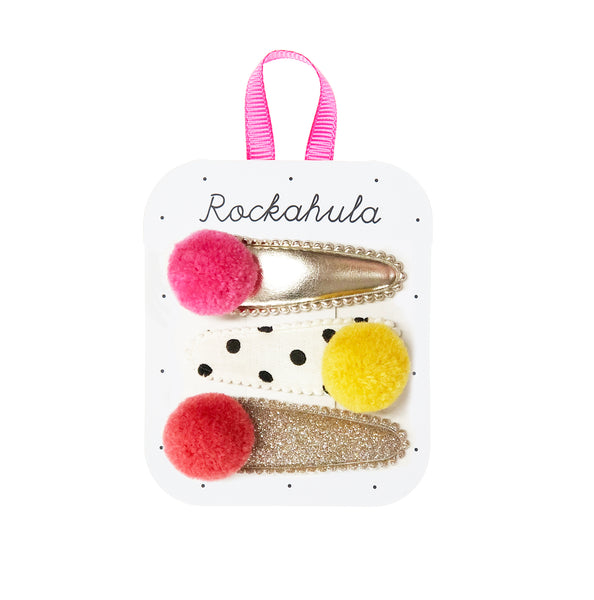 Pandora Pom Pom Hair Clips - Pinks and Yellow