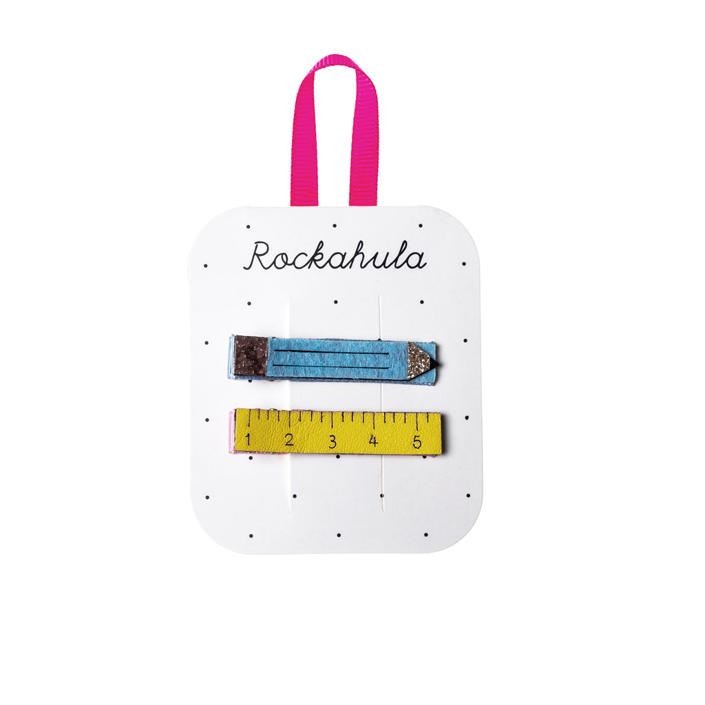 Pencil and Ruler Hair Clips