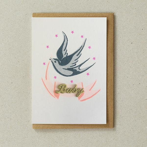 New Baby Banner Risograph Card