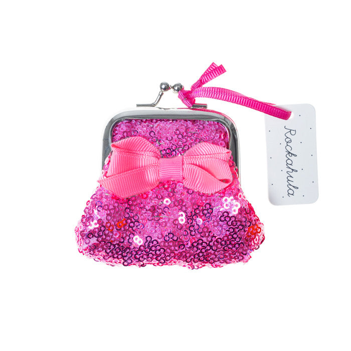 Mini Sequin Clasp Purse - Bright Pink