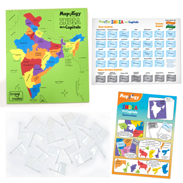 Mapology Combo: Map Puzzle of India and World with Capitals and Flags of Countries