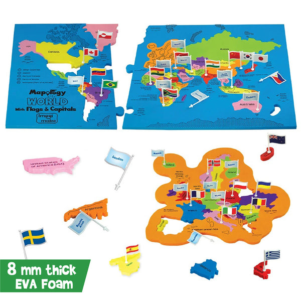 Mapology: World with Flags & Capitals Pack of 6