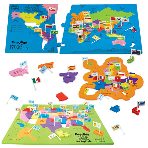 Mapology World & USA with Flags & Capitals