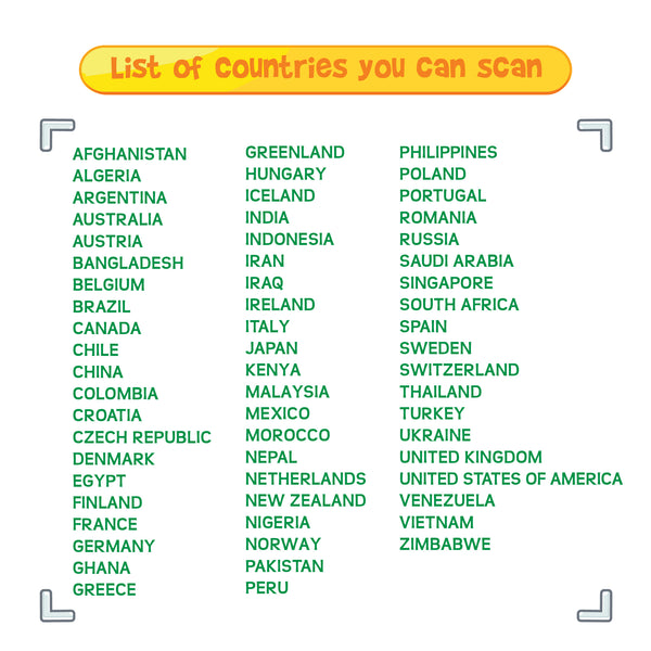 Scanable Countries
