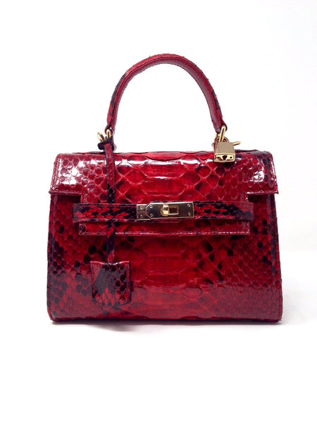 Bolso  Luna Medium    Pitón Rojo Brillo