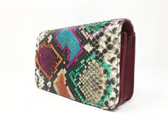 Bolso Rebel Small Pitón Multicolor Piel Burdeos