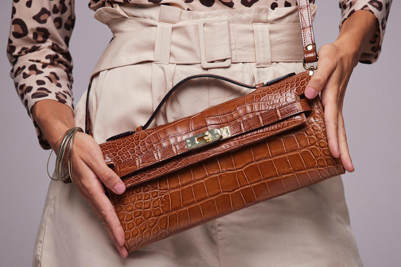 Bolso Star Big Real Croco Camel