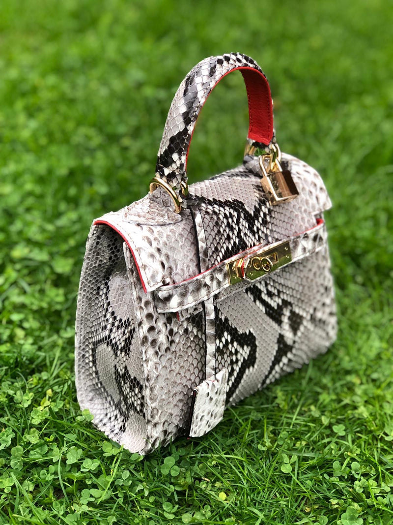 Bolso  Luna Mini Pitón Natural Brillo