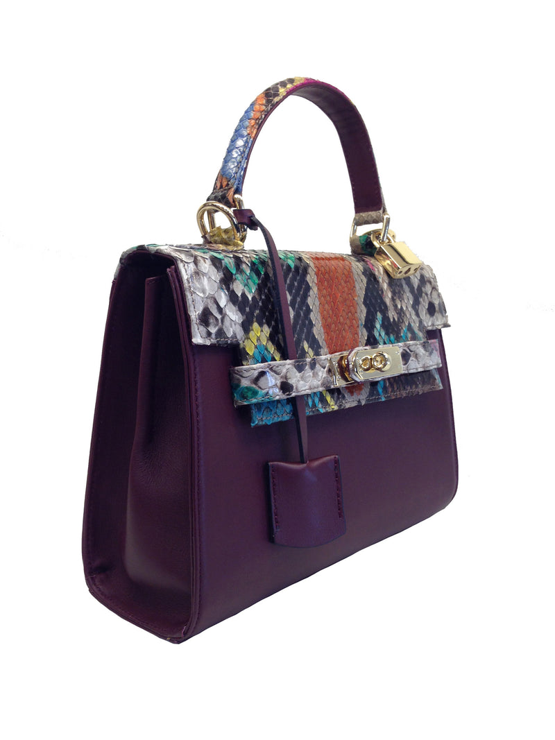 Bolso  Luna Medium   Pitón Multicolor Piel Burdeos