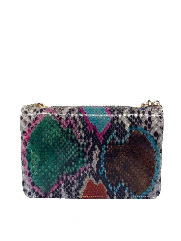 Bolso Rebel Medium Pitón Multicolor Piel Negro
