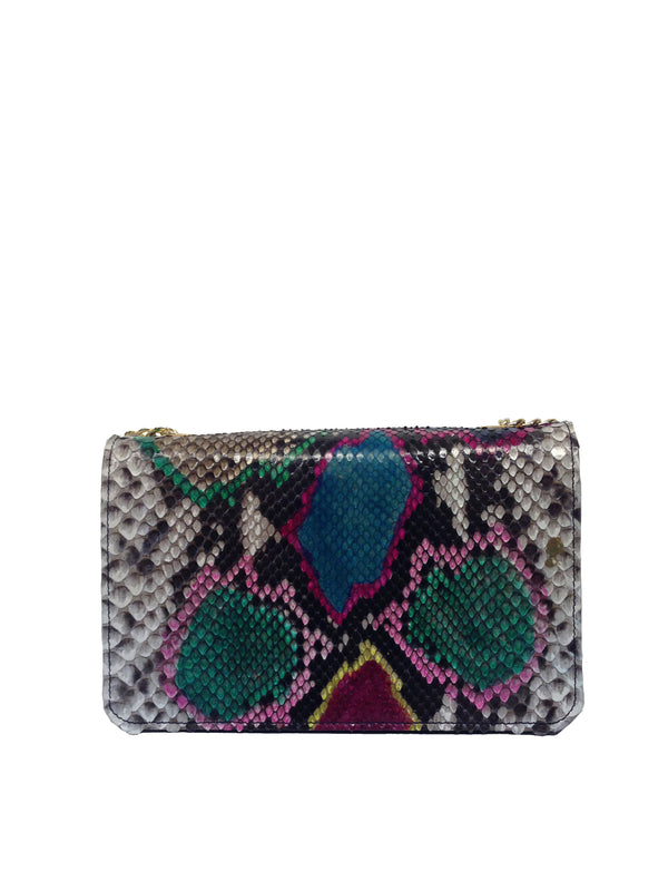 Bolso Rebel Small Pitón Multicolor Piel Negro