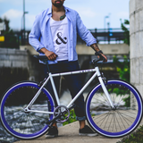 Image of White and blue fixed gear bike The Captain  3