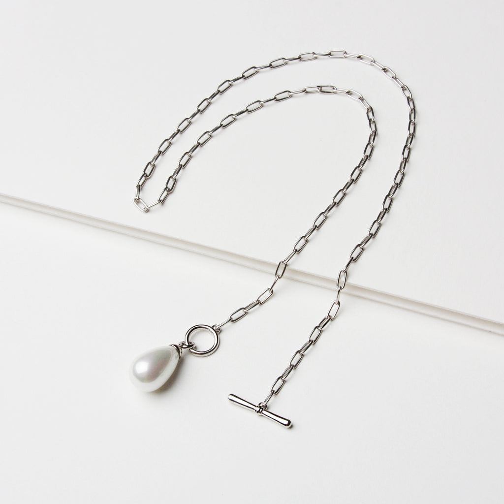 Teardrop Pearl T Bar Necklace