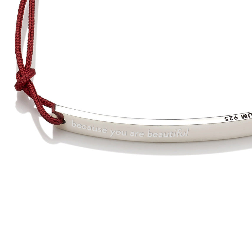 You are beautiful as you are Friendship Bracelet Red (Free Engraving) - BE.ARUM  - 4
